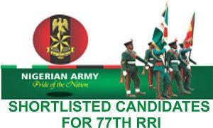 Nigerian Army List of Shortlisted Candidates 2018
