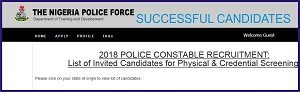 Nigerian Police Final List of Successful Shortlisted Candidates 2018