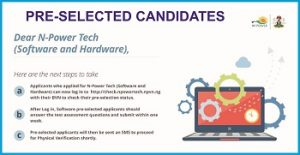 Npower Tech (Software & Hardware) List of Pre-selected Candidates 2018