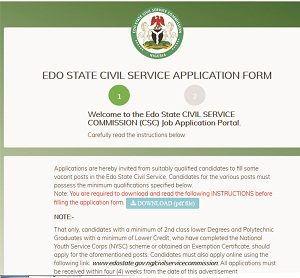 Edo Civil Service Recruitment 2018