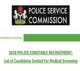Nigerian Police Constable Final List of Successful Shortlisted Candidates 2018