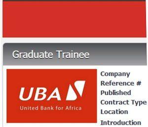 United Bank for Africa Plc (UBA) Graduates Trainee Recruitment 2018