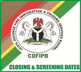 2018 CDFIPB Recruitment Closing & Screening Dates