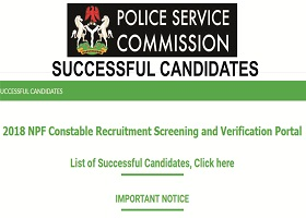 Nigerian Police Constable Recruitment Final list of Successful Candidates