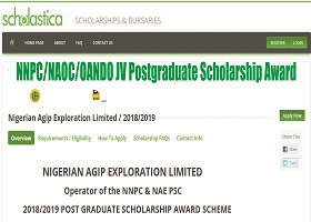 NNPC/NAOC/OANDO JV Postgraduate Scholarship Award 2018/2019