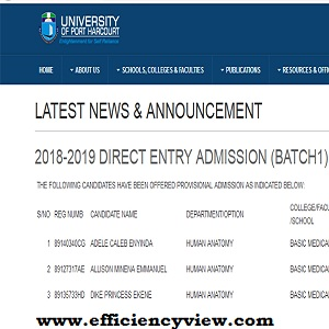 Uniport Direct Entry Admission list 2018/2018