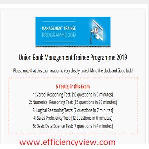 Union Bank Management Trainee Program Aptitude Test