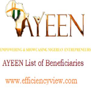 AYEEN List of Beneficiaries 2018/2019