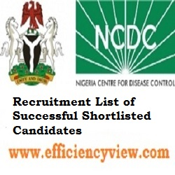 NCDC Recruitment List of Successful Shortlisted Candidates 2020