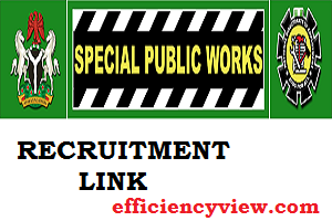 Link Portal for 2020/2021 Federal Government Special public works programme Recruitment
